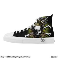 Shop King Squid Skull High Tops created by NDGRags. King Design, Printed Shoes, Tentacle, Top Shoes, Converse Chuck Taylor, High Tops, High Top Sneakers, Skull, Prints