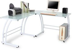 Contemporary Workstation White Finish Tempered Glass L Shaped Double Bit New #LumiSource #Contemporary #Desk #Furniture #Office #Home