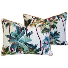 Pre-Owned Tropical Coconut Palm Tree Pillows Pair ($349) ❤ liked on Polyvore featuring home, home decor, throw pillows, tropical accent pillows, set of 2 throw pillows, tropical palm trees, tropical palm plants and tropical throw pillows
