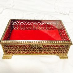 Large Vintage Footed Beveled Glass Gold Ormolu Vanity Jewelry Box