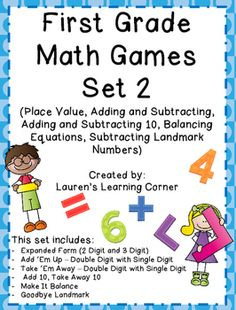 In need of math activities that can be used for a variety of purposes? Well this collection of games can be used for math centers, as partner work, for individual practice, as reinforcement or as extension activities. They are designed for first grade but would also work well for advanced kindergartners or for second grade students who are struggling or not meeting current expectations.