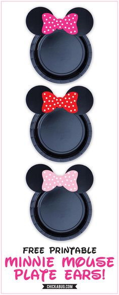 Free printable Minnie Mouse ears for plates {hot pink, red & baby pink