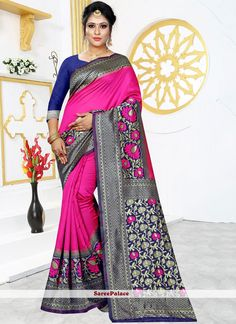 Buy latest collection of designer sarees including variety of sarees. Order this art silk hot pink traditional designer saree for ceremonial and festival. Latest Saree Trends, Latest Sarees, Net Saree, Art Silk Sarees, Traditional Sarees, Pink Art, Party Wear Sarees, Printed Sarees, Saree Collection