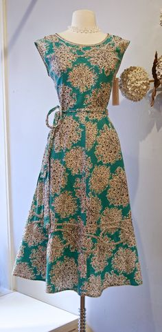 Vintage 1950s Turquoise Abstract Floral Wrap Dress by Swirl