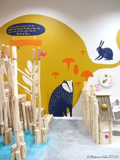 By Stephanie Cole mural paintings shop decor mushrooms badger hare nature illustration design Mural Painting, Mural Art, Design Maternelle, Kindergarten Design, Deco Kids, School Murals, Murals For Kids, Kids Wall Murals, Kid Spaces