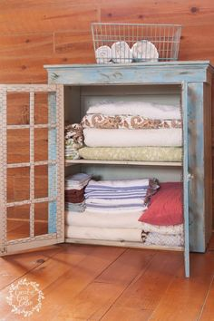 Turn an Old Cabinet Into A Linen Closet :: Hometalk