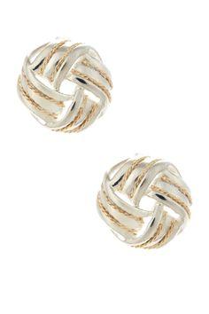 14K Yellow Gold & Sterling Silver Braided Knot Stud Earrings by Candela on @HauteLook