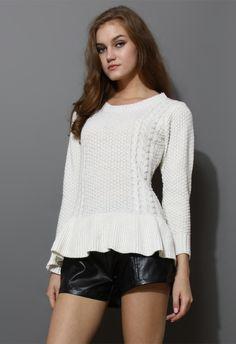 Frill Hem Knitted Top