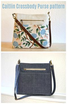 The Kaitlin Crossbody Purse pattern - Sew Modern Bags Diy Bags Purses, Diy Purse, Purses And Handbags, Diy Bags Patterns, Handbag Patterns, Sewing Patterns, Simple Bags, Easy Bag, Mochila Jeans