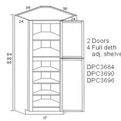 corner pantry dimensions with two doors