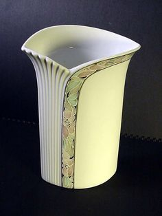 Porcelain Vase AK Kaiser Germany Tivoli about 7 inch Tall Flower Strip Off White