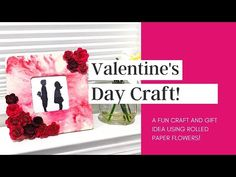 Learn how to make a cricut paper flower with or without using a Cricut machine! Fast, beautiful, and fun! Great DIY project. Paper Rose Craft, Rose Crafts, Fun Crafts, Rolled Paper Flowers, Paper Roses, Flower Picture Frames, Flower Frame, Valentine Day Crafts, Valentines