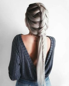 boho braids + backless details Emily Rose Hannon in our Sweetest Dreams backless charcoal sweater top (link in bio) - New Site Trending Hairstyles, Braided Hairstyles, Fall Hairstyles, Unique Hairstyles, Latest Hairstyles, Casual Hairstyles, Everyday Hairstyles, Braided Updo, Protective Hairstyles