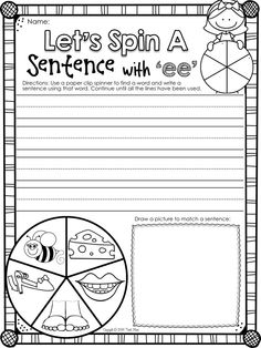 "Vowel Team FREEBIE. Practice sentence writing with ""EE"". Learn about LONG VOWELS with this NO PREP printables package."