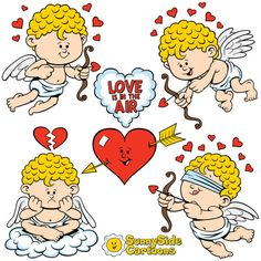 Cartoon Cupids: Our lovable cupids are perfect for your Valentine's Day projects!