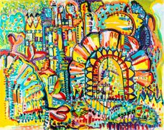 "Israeli art By Inbar Reich,""Gate""- painting colorful, Drawing energy , acrylics on canvas Bold Colors, Oil On Canvas, Pop Art, City Photo, Etsy Seller, Original Paintings, Abstract Art, Joy, The Originals"