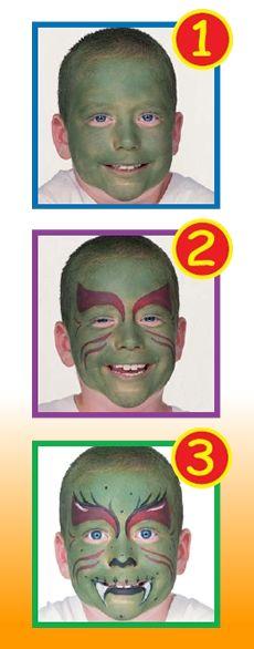 GREEN MONSTER face painting for kids