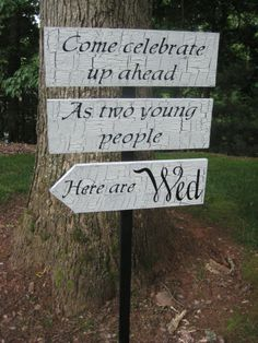 Vintage Wedding signs | Directional Wedding Sign Decor Quote Vintage Finish. $59.95, via Etsy.