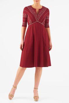 Graphic embellished empire cotton knit dress #eShakti