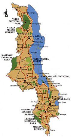 Подробная крупная политическая карта Малави с указанием городов