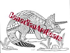 Printable Downloadable Dinosaur Triceratops Zentangle inspired Kids Coloring Page by CanadianArtBeats on Etsy