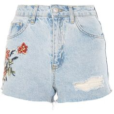 Topshop Petite Fire Flower Denim Shorts (€40) ❤ liked on Polyvore featuring shorts, bleach denim, topshop shorts, denim shorts, petite shorts, denim short shorts and petite denim shorts