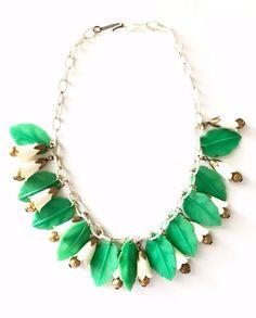 Vintage Celluloid Leaf and Bell Bib Necklace