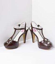 e565f99992dfc Dark Brown Faux Leather Bettie T-Strap Peep Toe Pump Shoes Brown Heels