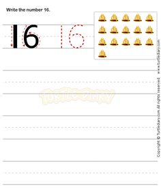 Number Writing Worksheet 16 - math Worksheets - preschool Worksheets