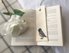 Linen Country Style Book Mark that is handmade Aplique Blue Tit. £1.99
