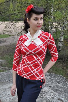 Pin up shirt red and white nautical knit shirt by CheriseDesign