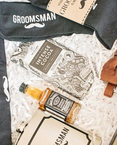 """Say thank you to the groomsmen or surprise the groom with our """"Your th Man"""" gift box filled with a sophisticated collection of man-spoils. New Product, Product Launch, Curated Gift Boxes, Groomsmen, Are You The One, The Man, Weddings, Personalized Items, Handmade"""
