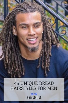 45 Unique Dread Hairstyle Ideas for Men : Learn how to style a modern dread hairstyle for men Dreadlock Hairstyles For Men, Dreadlock Styles, Dreads Styles, Hair Styles, Black Hairstyles Crochet, Black Men Hairstyles, Haircuts For Men, Girl Hairstyles, Hot Hair Colors