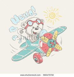 Pilot bear vector cartoon illustration. For baby t-shirt print.