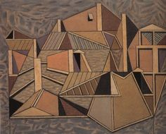 Paris Roofs II, 1952 by Nikos Hadjikyriakos-Ghikas. Cubist Artists, Tate Gallery, Byzantine Art, Greek Art, Art Database, Cubism, Art Google, Painting & Drawing, Oil On Canvas