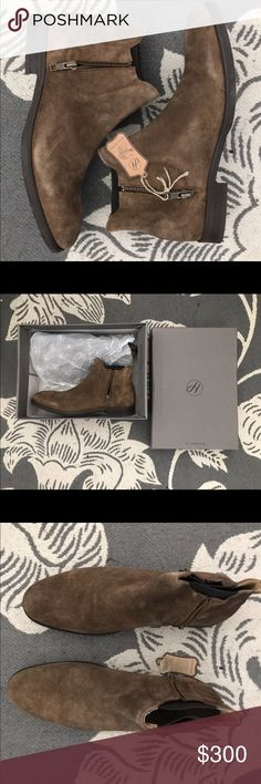 Mitchell Boots, H by Hudson, Sz 8 M Never worn Hudson London men's Mitchell boots size 8 M. I bought these over the summer hoping to wear them this fall but they are a bit too big. H by Hudson runs a bit large. These suede boots are 100% leather, 100% leather lined, London-made with a stacked synthetic sole. Elastic side ankles covered by stylish zippers will keep these shoes casual yet smart. H By Hudson Shoes Boots