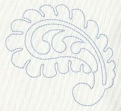 Feather Quilting Curling Paisley (Single Run)This running-stitch design can be used as simple Redwork on smooth fabrics. Or, use it to stitch through a quilt top, batting, and back. Project instructions demonstrate the technique of quilting with embroider Bordado Paisley, Paisley Embroidery, Machine Embroidery Applique, Machine Quilting, Embroidery Stitches, Embroidery Patterns, Quilting Templates, Quilt Patterns Free, Quilting Designs