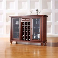 Accent your home with the Cambridge Sliding Top Bar Cabinet, Mahogany *D by Crosley Furniture. Bar, Buffets & Sideboards in many styles at the best prices anywhere! Corner Bar Cabinet, Wine Bar Cabinet, Wine Cabinets, Bar Furniture For Sale, Furniture Deals, Cube Storage, Storage Spaces, Storage Area, Tempered Glass Door