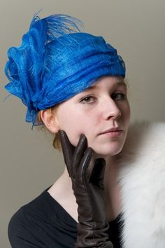 Royal Blue Turban Hat Sinamay Women Luxe Millinery | purpleberry - Accessories on ArtFire
