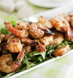 Grilled and spicy shrimps, Grillatut, tuliset jättikatkaravut, resepti – Ruoka.fi