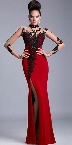 Cheap lace evening dresses, Buy Quality evening dress with sleeves directly from China evening dress Suppliers: Real Picture Red Lace Evening Dress with Sleeves Sexy Seen Through Black Lace Appliques vestido longo vestido de festa Evening Dresses With Sleeves, Cheap Evening Dresses, Mermaid Evening Dresses, Sexy Dresses, Evening Gowns, Beautiful Dresses, Nice Dresses, Amazing Dresses, Prom Dresses