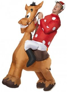 9dac7c1fcc0 Men Fancy Dress Ride On Suit Inflatable Jockey   Horse Costume Med Chest -  coupon layout