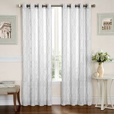 Gramercy Embroidered Sheer Window Panel - 50'' x 84''