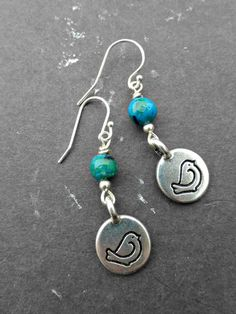 Bird sterling silver earrings. Bird charms and blue green stone. small earrings.