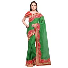 65fa9af5270d5 Womanista Synthetic Saree with Blouse Piece (FS9526 Green One Size)   Amazon.in  Clothing   Accessories
