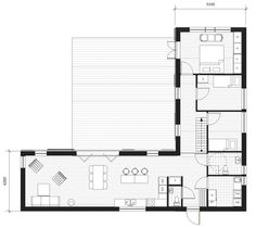 Klövsjö 132 - house in angle with space for a large terrace and the possibility of a couple of extra rooms at the loft. L Shaped House Plans, New House Plans, Modern House Plans, Small House Plans, Contener House, Facade House, Bungalow Floor Plans, House Floor Plans, Home Building Design