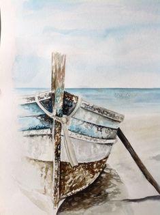 Beach Scene Painting, Sailboat Painting, Seascape Paintings, Landscape Paintings, Watercolor Landscape, Watercolor Paintings, Watercolour, Boat Art, Coastal Art