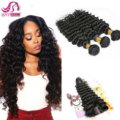 58.04$  Watch now - http://alizrz.worldwells.pw/go.php?t=32717704750 - Peruvian Deep Wave Bundles With Closure Peruvian Virgin Hair With Closure Curly Human Hair Extensions With Closure 58.04$