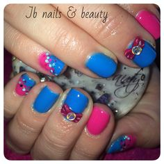 Pink & blue design gel polish on natural nails