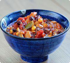 Healthy Vegetarian Chili Recipe: http://chocolatecoveredkatie.com/2014/08/22/vegetarian-chili-recipe/
